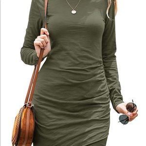 0220 Women Fashion Ruched Elegant Bodycon Long